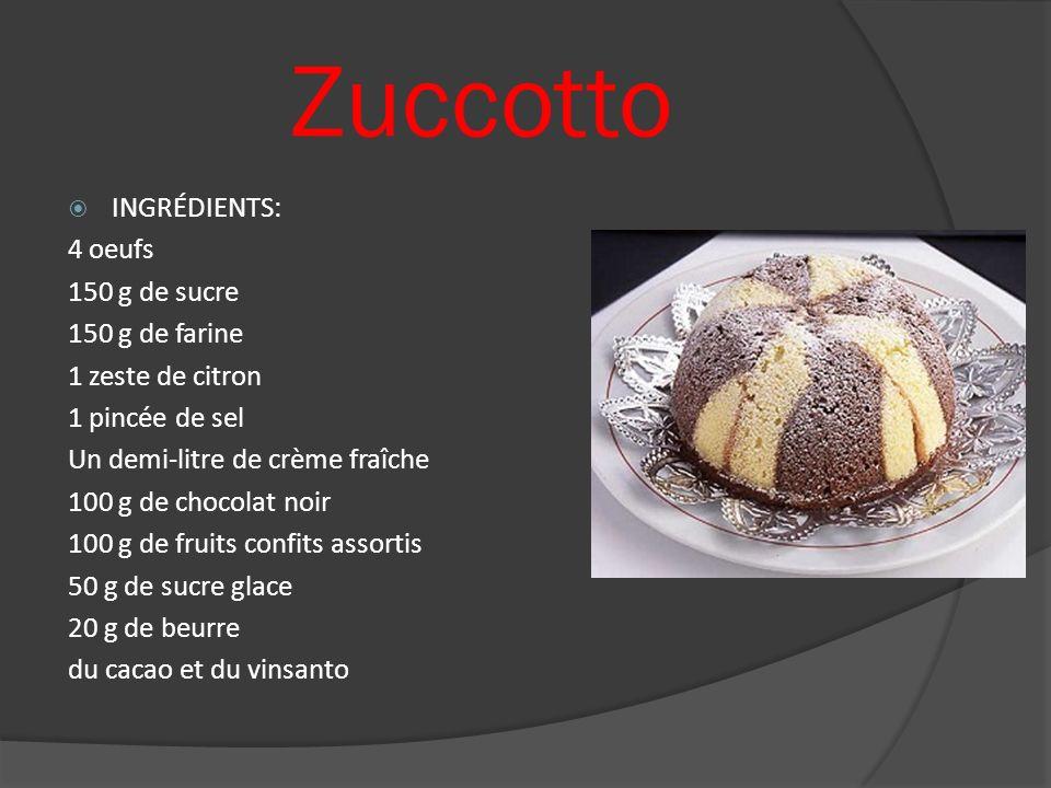 Zuccotto INGRÉDIENTS: 4 oeufs 150 g de sucre 150 g de farine 1 zeste de citron 1 pincée de sel Un demi-litre de crème fraîche 100 g de chocolat noir 1