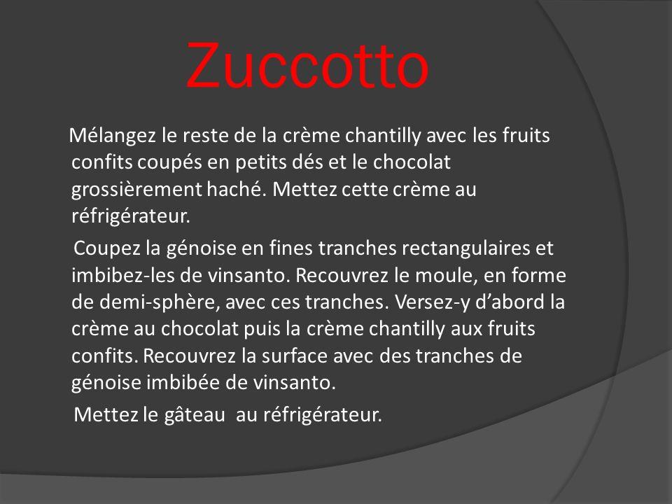 Zuccotto Mélangez le reste de la crème chantilly avec les fruits confits coupés en petits dés et le chocolat grossièrement haché. Mettez cette crème a