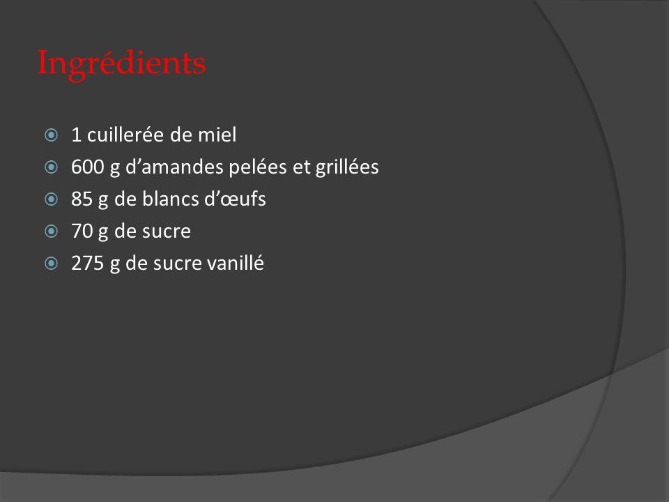 Ingrédients 1 cuillerée de miel 600 g damandes pelées et grillées 85 g de blancs dœufs 70 g de sucre 275 g de sucre vanillé