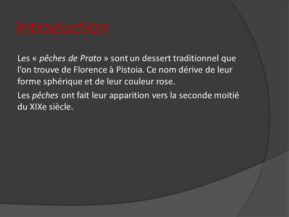 Introduction Les « pêches de Prato » sont un dessert traditionnel que lon trouve de Florence à Pistoia. Ce nom dérive de leur forme sphérique et de le