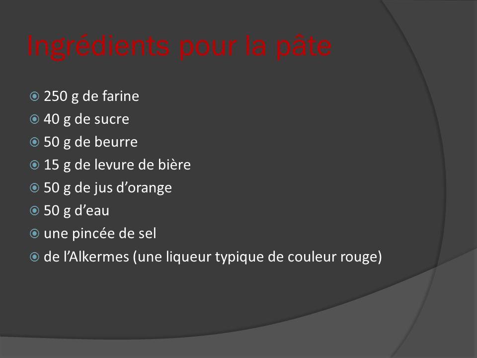 Ingrédients pour la pâte 250 g de farine 40 g de sucre 50 g de beurre 15 g de levure de bière 50 g de jus dorange 50 g deau une pincée de sel de lAlke
