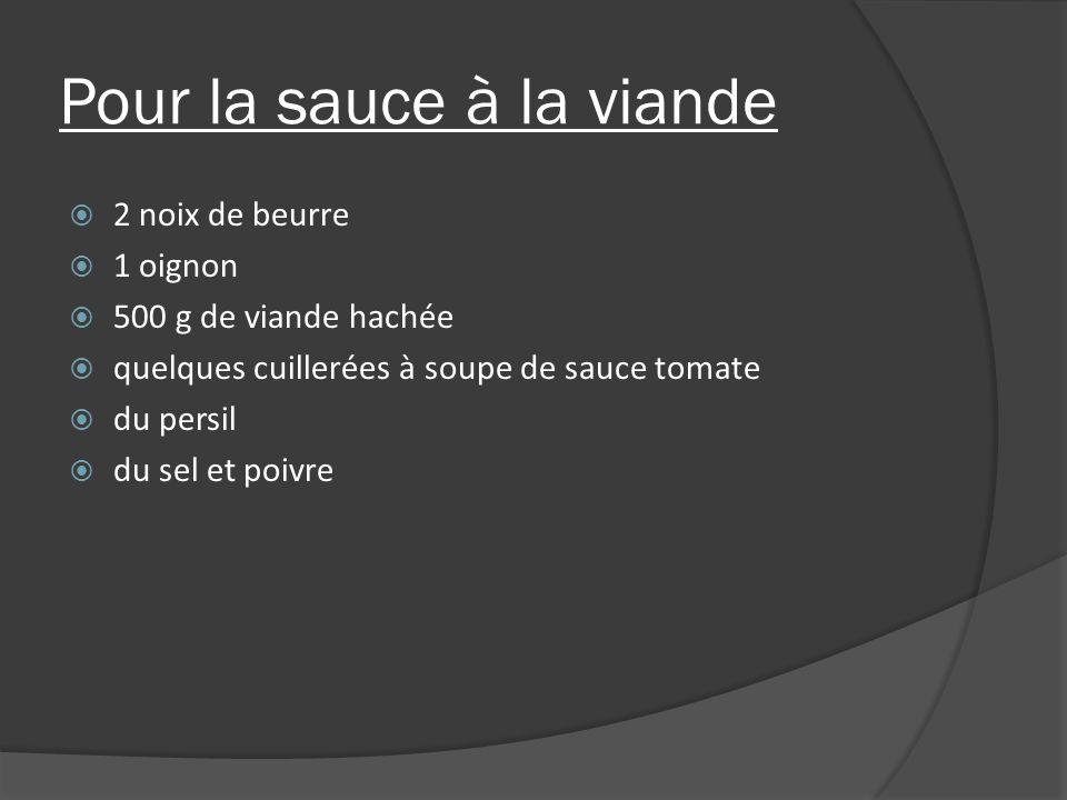 Pour la sauce à la viande 2 noix de beurre 1 oignon 500 g de viande hachée quelques cuillerées à soupe de sauce tomate du persil du sel et poivre