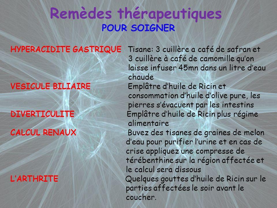 Remèdes thérapeutiques POUR SOIGNER HYPERACIDITE GASTRIQUE Tisane: 3 cuillère a café de safran et 3 cuillère à café de camomille quon laisse infuser 4