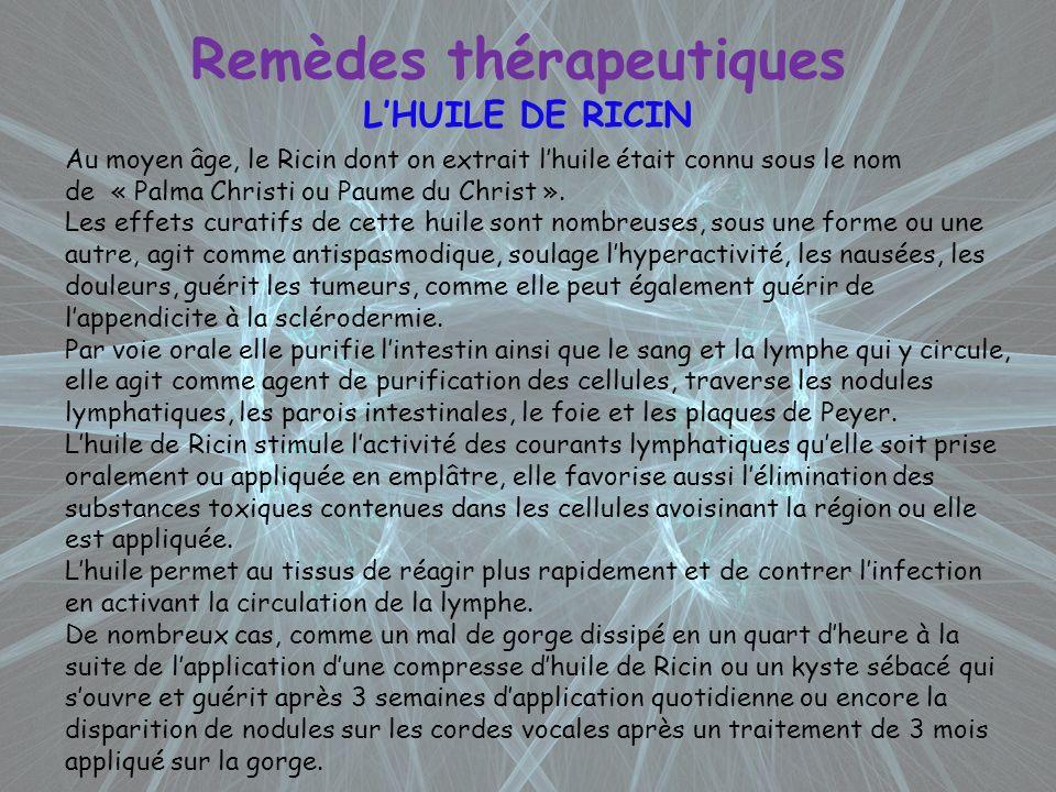 Remèdes thérapeutiques LHUILE DE RICIN Au moyen âge, le Ricin dont on extrait lhuile était connu sous le nom de « Palma Christi ou Paume du Christ ».