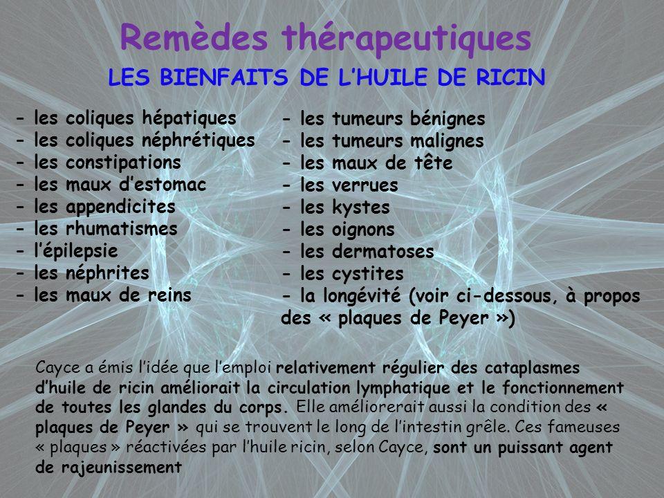 Remèdes thérapeutiques LES BIENFAITS DE LHUILE DE RICIN - les coliques hépatiques - les coliques néphrétiques - les constipations - les maux destomac
