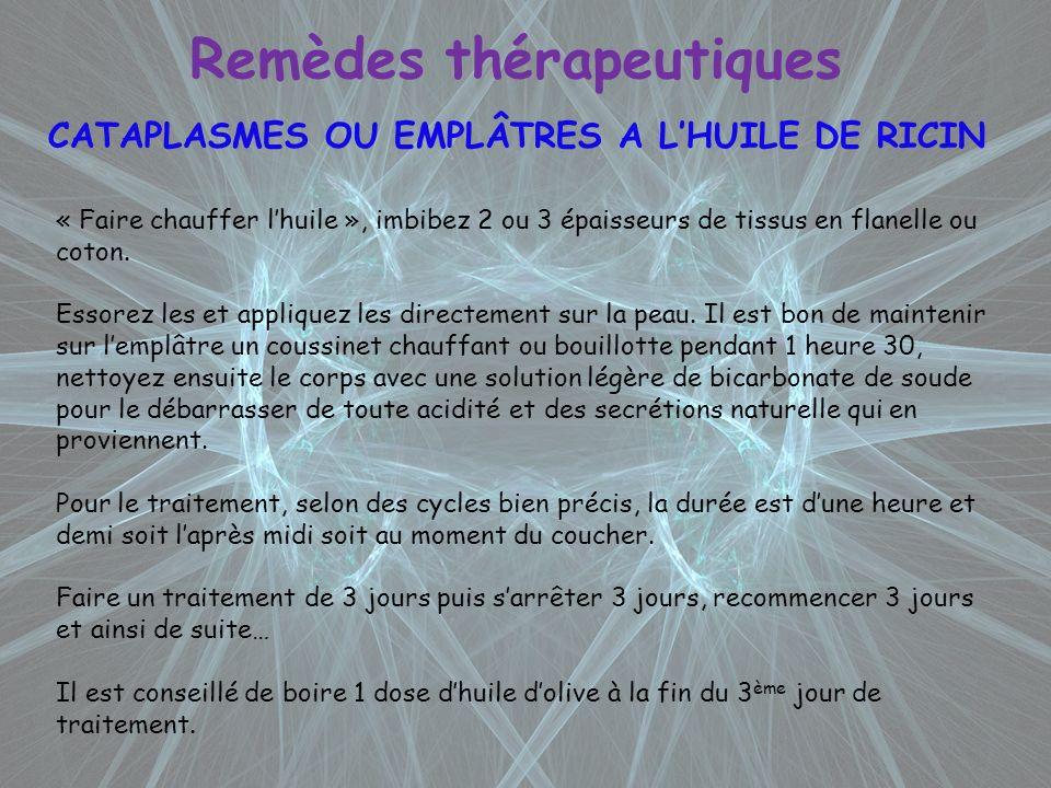 Remèdes thérapeutiques CATAPLASMES OU EMPLÂTRES A LHUILE DE RICIN « Faire chauffer lhuile », imbibez 2 ou 3 épaisseurs de tissus en flanelle ou coton.