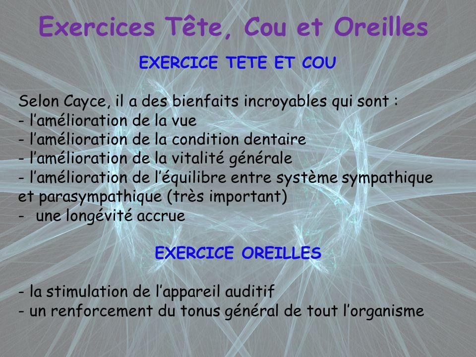 Exercices Tête, Cou et Oreilles EXERCICE TETE ET COU Selon Cayce, il a des bienfaits incroyables qui sont : - lamélioration de la vue - lamélioration