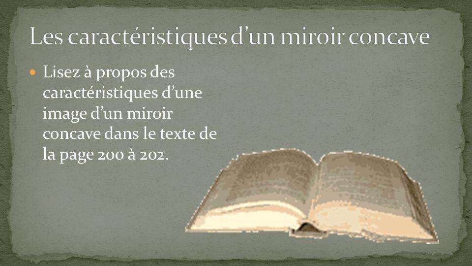 Lisez à propos des caractéristiques dune image dun miroir concave dans le texte de la page 200 à 202.