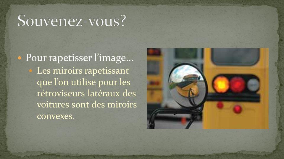 Pour rapetisser limage… Les miroirs rapetissant que lon utilise pour les rétroviseurs latéraux des voitures sont des miroirs convexes.