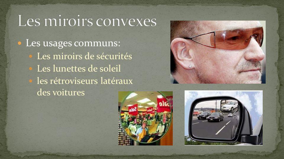 Les usages communs: Les miroirs de sécurités Les lunettes de soleil les rétroviseurs latéraux des voitures