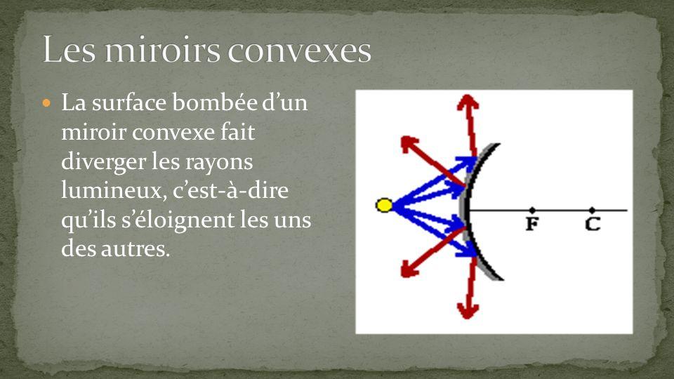 La surface bombée dun miroir convexe fait diverger les rayons lumineux, cest-à-dire quils séloignent les uns des autres.