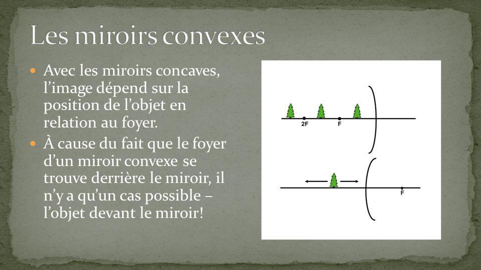 Avec les miroirs concaves, limage dépend sur la position de lobjet en relation au foyer. À cause du fait que le foyer dun miroir convexe se trouve der
