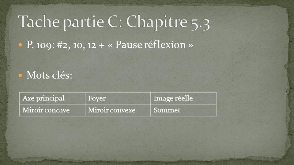 P. 109: #2, 10, 12 + « Pause réflexion » Mots clés: Axe principalFoyerImage réelle Miroir concaveMiroir convexeSommet