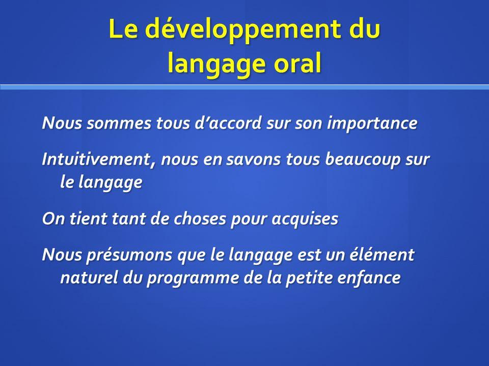 Le développement du langage oral Nous sommes tous daccord sur son importance Intuitivement, nous en savons tous beaucoup sur le langage On tient tant de choses pour acquises Nous présumons que le langage est un élément naturel du programme de la petite enfance