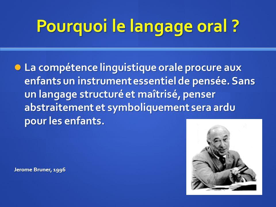 Pourquoi le langage oral .