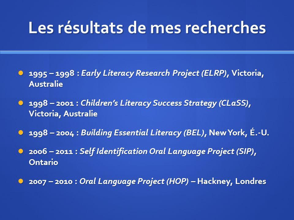 Les résultats de mes recherches 1995 – 1998 : Early Literacy Research Project (ELRP), Victoria, Australie 1995 – 1998 : Early Literacy Research Projec