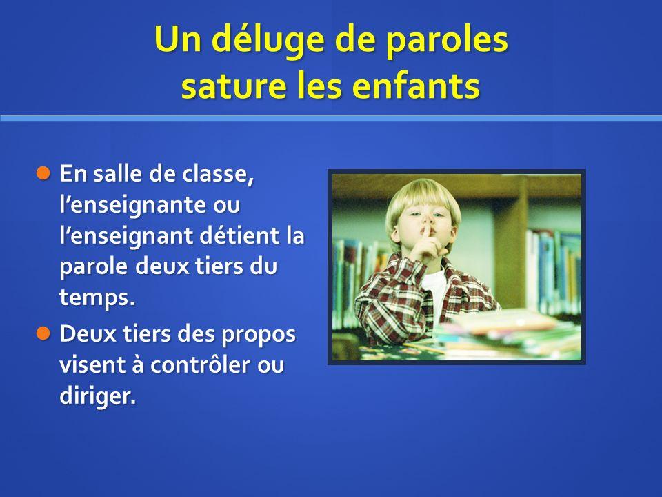 Un déluge de paroles sature les enfants En salle de classe, lenseignante ou lenseignant détient la parole deux tiers du temps.