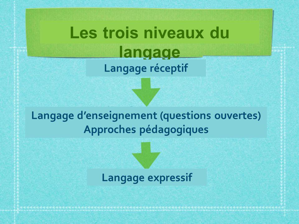 Les trois niveaux du langage Langage réceptif Langage denseignement (questions ouvertes) Approches pédagogiques Langage expressif