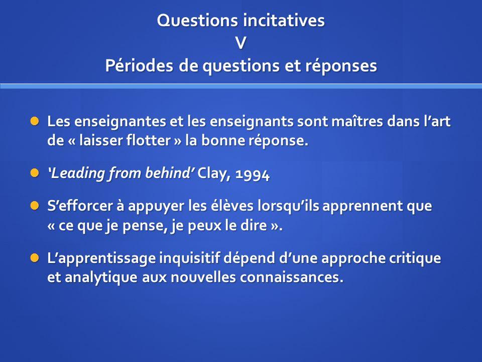 Questions incitatives V Périodes de questions et réponses Les enseignantes et les enseignants sont maîtres dans lart de « laisser flotter » la bonne réponse.