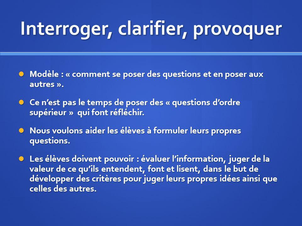 Interroger, clarifier, provoquer Modèle : « comment se poser des questions et en poser aux autres ».