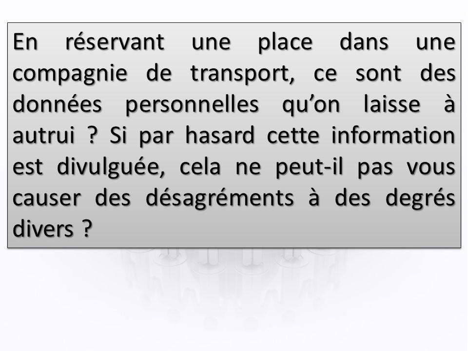 En réservant une place dans une compagnie de transport, ce sont des données personnelles quon laisse à autrui .