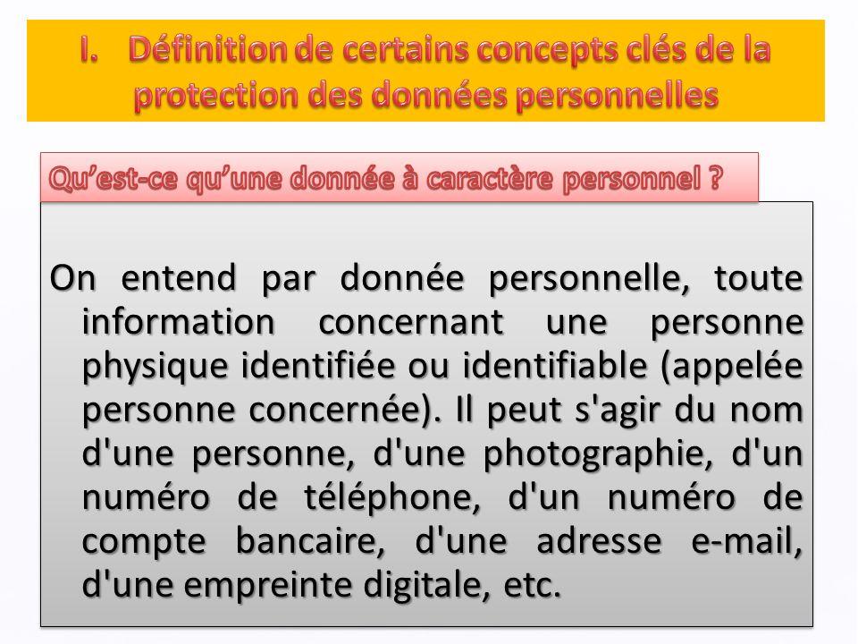 On entend par donnée personnelle, toute information concernant une personne physique identifiée ou identifiable (appelée personne concernée).
