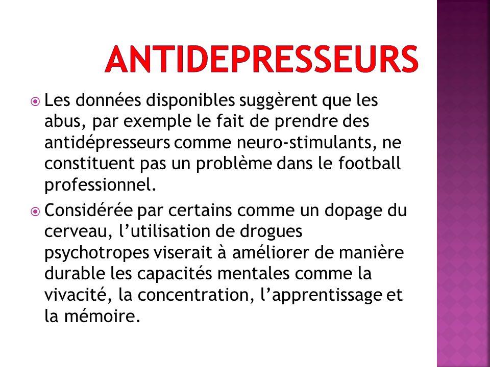 Les données disponibles suggèrent que les abus, par exemple le fait de prendre des antidépresseurs comme neuro-stimulants, ne constituent pas un probl