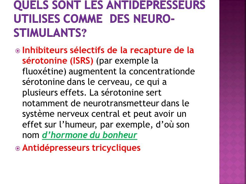 Inhibiteurs sélectifs de la recapture de la sérotonine (ISRS) (par exemple la fluoxétine) augmentent la concentrationde sérotonine dans le cerveau, ce