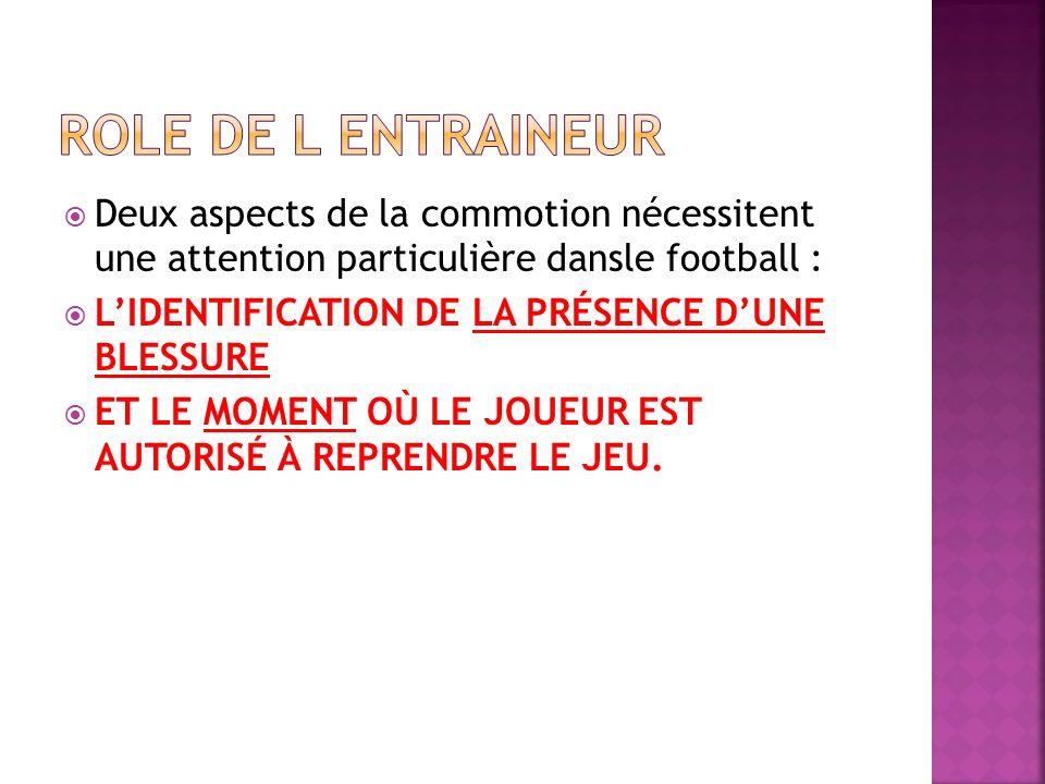 Deux aspects de la commotion nécessitent une attention particulière dansle football : LIDENTIFICATION DE LA PRÉSENCE DUNE BLESSURE ET LE MOMENT OÙ LE