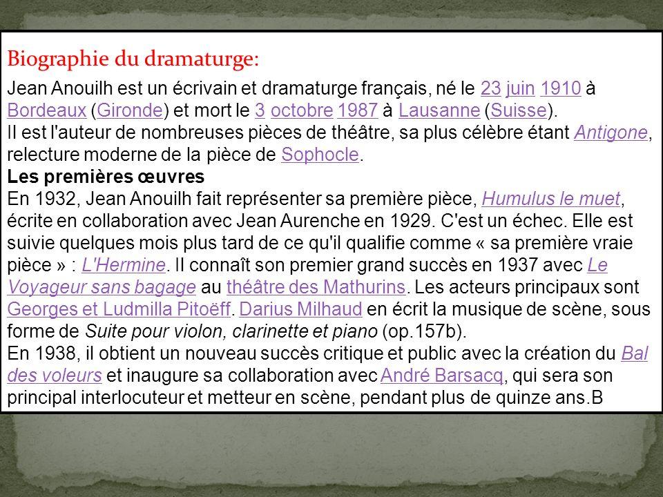 Jean Anouilh est un écrivain et dramaturge français, né le 23 juin 1910 à Bordeaux (Gironde) et mort le 3 octobre 1987 à Lausanne (Suisse).23juin1910