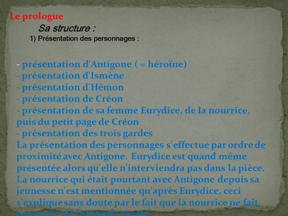 - présentation d'Antigone ( = héroïne) - présentation d'Ismène - présentation d'Hémon - présentation de Créon - présentation de sa femme Eurydice, de