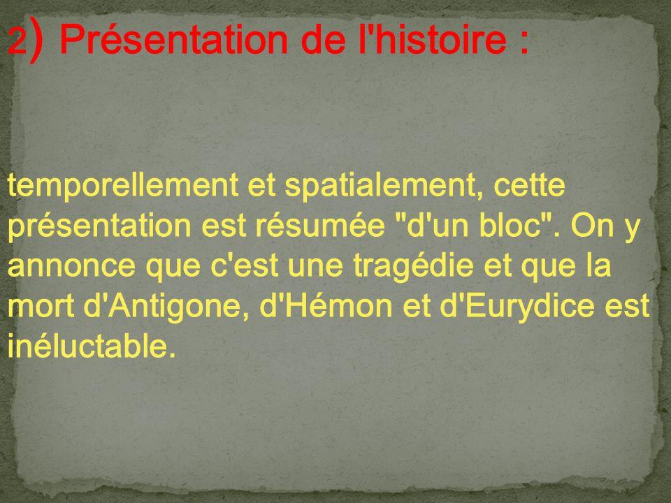 2 ) Présentation de l'histoire : temporellement et spatialement, cette présentation est résumée