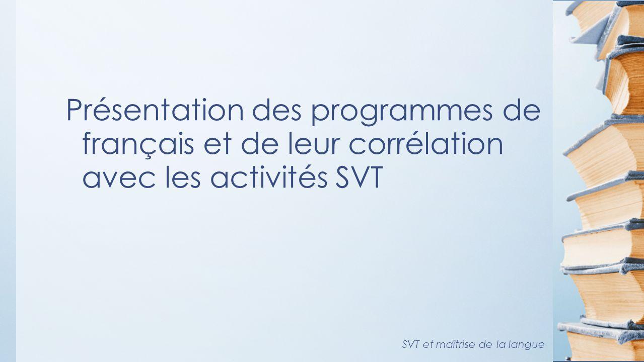 Présentation des programmes de français et de leur corrélation avec les activités SVT SVT et maîtrise de la langue