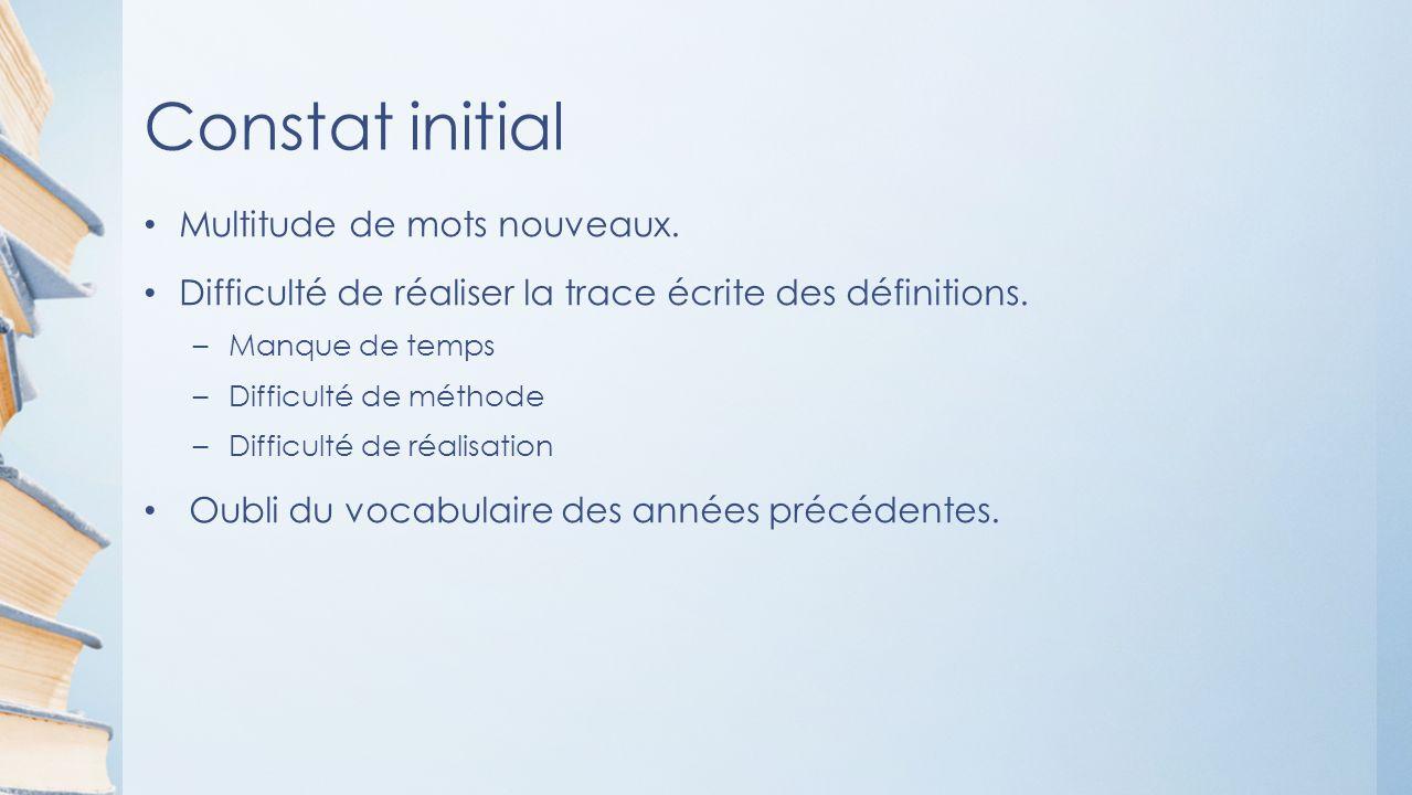 Constat initial Multitude de mots nouveaux. Difficulté de réaliser la trace écrite des définitions.