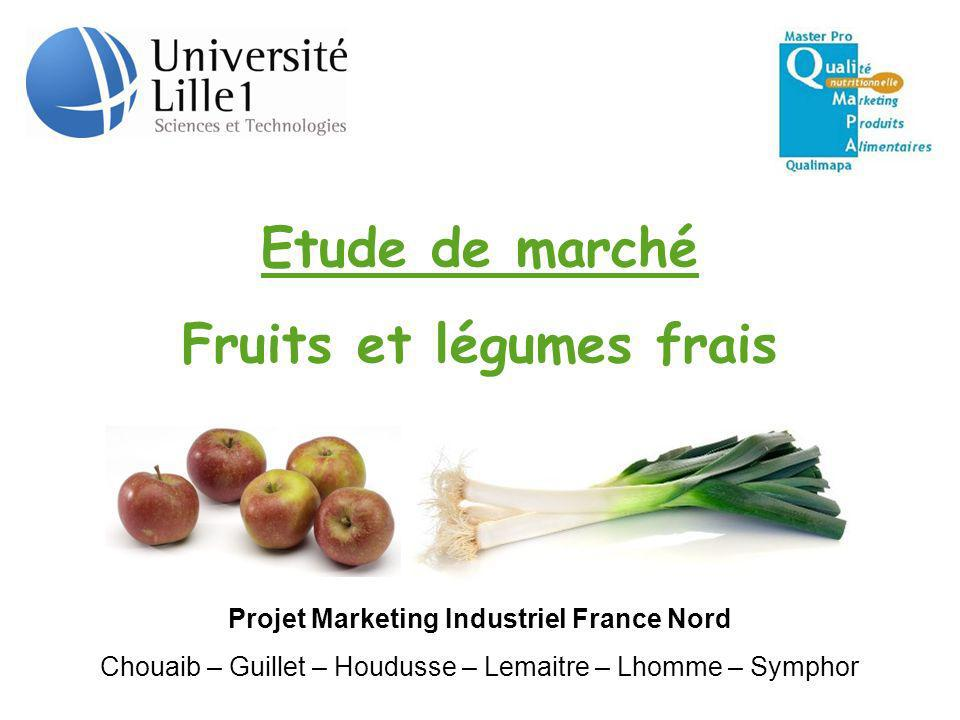 Etude de marché Fruits et légumes frais Projet Marketing Industriel France Nord Chouaib – Guillet – Houdusse – Lemaitre – Lhomme – Symphor