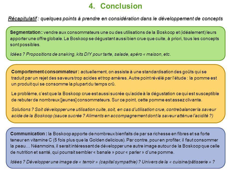 4.Conclusion Récapitulatif : quelques points à prendre en considération dans le développement de concepts Segmentation : vendre aux consommateurs une ou des utilisations de la Boskoop et (idéalement) leurs apporter une offre globale.