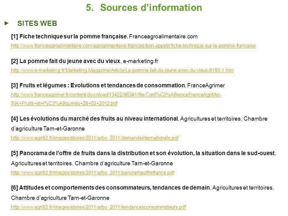 5.Sources dinformation SITES WEB [1] Fiche technique sur la pomme française, Franceagroalimentaire.com http://www.franceagroalimentaire.com/agroalimentaire-francais/bon-appetit/fiche-technique-sur-la-pomme-francaise [2] La pomme fait du jeune avec du vieux, e-marketing.fr http://www.e-marketing.fr/Marketing-Magazine/Article/La-pomme-fait-du-jeune-avec-du-vieux-6180-1.htm [3] Fruits et légumes : Evolutions et tendances de consommation, FranceAgrimer http://www.franceagrimer.fr/content/download/13422/96341/file/Conf%C3%A9renceFranceAgriMer- SIA+Fruits+et+l%C3%A9gumes+28+02+2012.pdf [4] Les évolutions du marché des fruits au niveau international, Agricultures et territoires, Chambre dagriculture Tarn-et-Garonne http://www.agri82.fr/images/stories/2011/arbo_2011/demandeinternationale.pdf [5] Panorama de loffre de fruits dans la distribution et son évolution, la situation dans le sud-ouest, Agricultures et territoires, Chambre dagriculture Tarn-et-Garonne http://www.agri82.fr/images/stories/2011/arbo_2011/panoramaoffrefrance.pdf [6] Attitudes et comportements des consommateurs, tendances de demain, Agricultures et territoires, Chambre dagriculture Tarn-et-Garonne http://www.agri82.fr/images/stories/2011/arbo_2011/tendancesconsommateurs.pdf