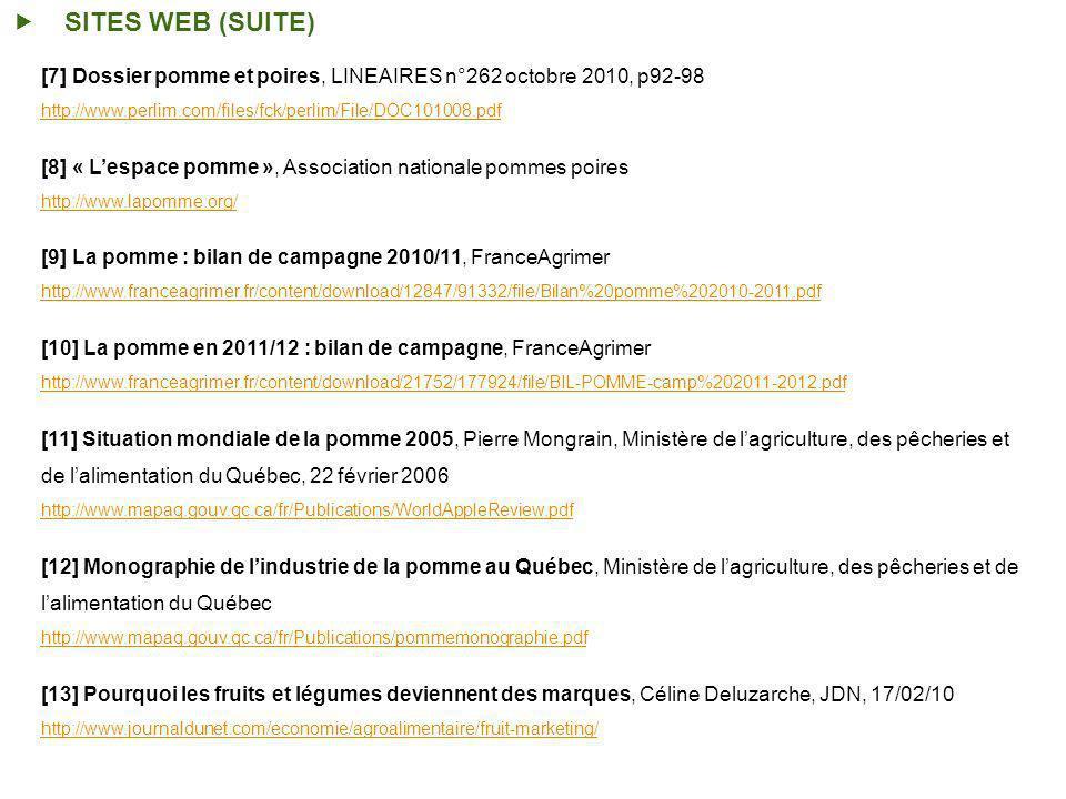 SITES WEB (SUITE) [7] Dossier pomme et poires, LINEAIRES n°262 octobre 2010, p92-98 http://www.perlim.com/files/fck/perlim/File/DOC101008.pdf [8] « Lespace pomme », Association nationale pommes poires http://www.lapomme.org/ [9] La pomme : bilan de campagne 2010/11, FranceAgrimer http://www.franceagrimer.fr/content/download/12847/91332/file/Bilan%20pomme%202010-2011.pdf [10] La pomme en 2011/12 : bilan de campagne, FranceAgrimer http://www.franceagrimer.fr/content/download/21752/177924/file/BIL-POMME-camp%202011-2012.pdf [11] Situation mondiale de la pomme 2005, Pierre Mongrain, Ministère de lagriculture, des pêcheries et de lalimentation du Québec, 22 février 2006 http://www.mapaq.gouv.qc.ca/fr/Publications/WorldAppleReview.pdf [12] Monographie de lindustrie de la pomme au Québec, Ministère de lagriculture, des pêcheries et de lalimentation du Québec http://www.mapaq.gouv.qc.ca/fr/Publications/pommemonographie.pdf [13] Pourquoi les fruits et légumes deviennent des marques, Céline Deluzarche, JDN, 17/02/10 http://www.journaldunet.com/economie/agroalimentaire/fruit-marketing/