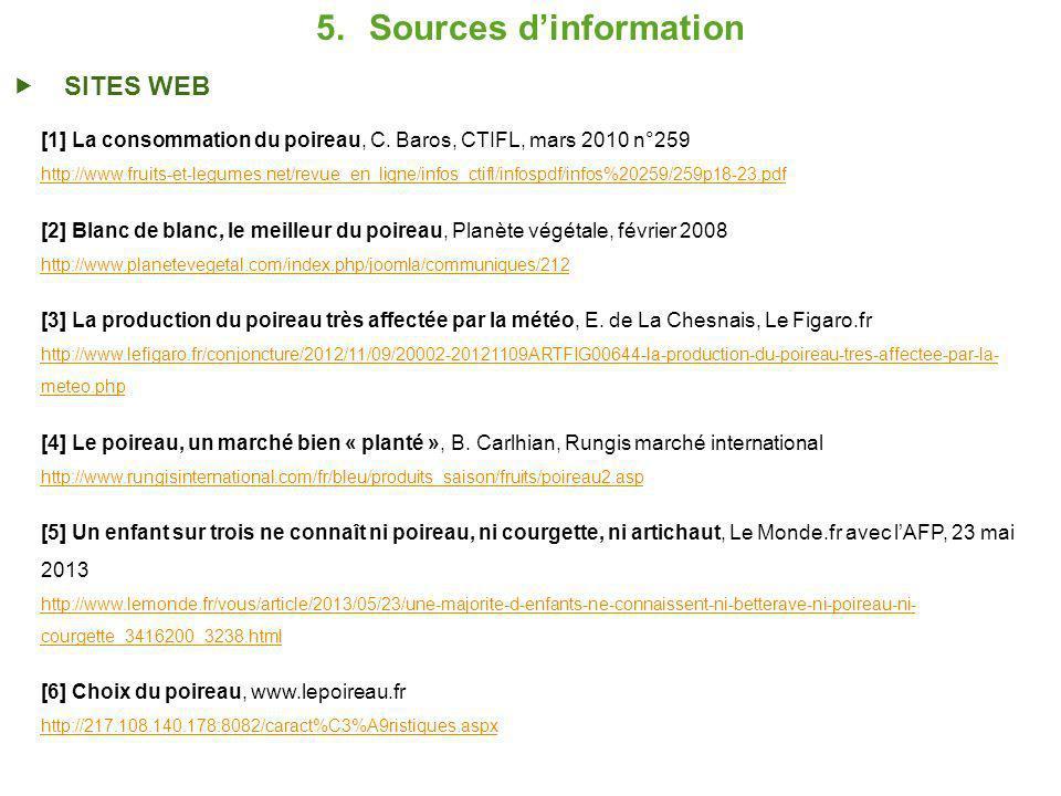5.Sources dinformation SITES WEB [1] La consommation du poireau, C.
