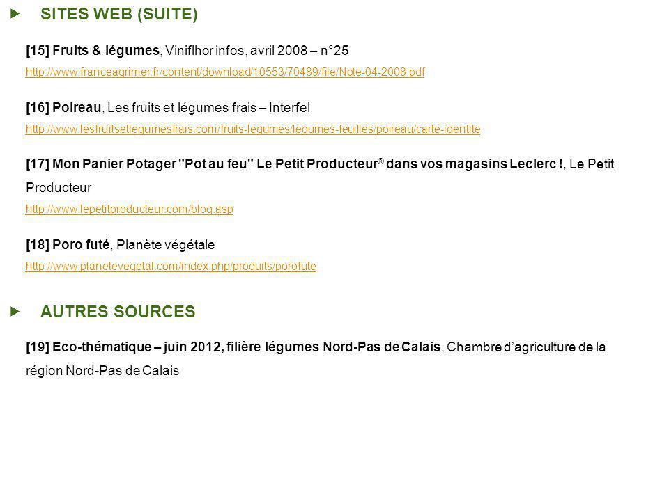 SITES WEB (SUITE) [15] Fruits & légumes, Viniflhor infos, avril 2008 – n°25 http://www.franceagrimer.fr/content/download/10553/70489/file/Note-04-2008.pdf [16] Poireau, Les fruits et légumes frais – Interfel http://www.lesfruitsetlegumesfrais.com/fruits-legumes/legumes-feuilles/poireau/carte-identite [17] Mon Panier Potager Pot au feu Le Petit Producteur ® dans vos magasins Leclerc !, Le Petit Producteur http://www.lepetitproducteur.com/blog.asp [18] Poro futé, Planète végétale http://www.planetevegetal.com/index.php/produits/porofute AUTRES SOURCES [19] Eco-thématique – juin 2012, filière légumes Nord-Pas de Calais, Chambre dagriculture de la région Nord-Pas de Calais
