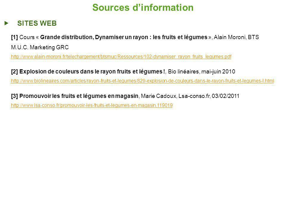 Sources dinformation SITES WEB [1] Cours « Grande distribution, Dynamiser un rayon : les fruits et légumes », Alain Moroni, BTS M.U.C.