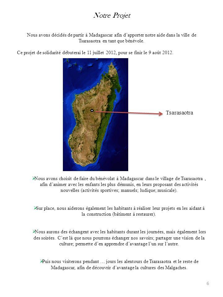 Notre Projet Nous avons décidés de partir à Madagascar afin dapporter notre aide dans la ville de Tsarasaotra en tant que bénévole. Ce projet de solid