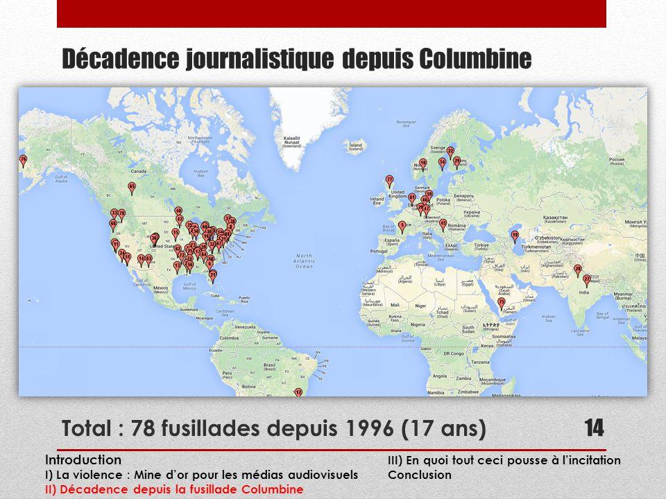 Décadence journalistique depuis Columbine Total : 78 fusillades depuis 1996 (17 ans) 14 Introduction III) En quoi tout ceci pousse à lincitation I) La violence : Mine dor pour les médias audiovisuels Conclusion II) Décadence depuis la fusillade Columbine