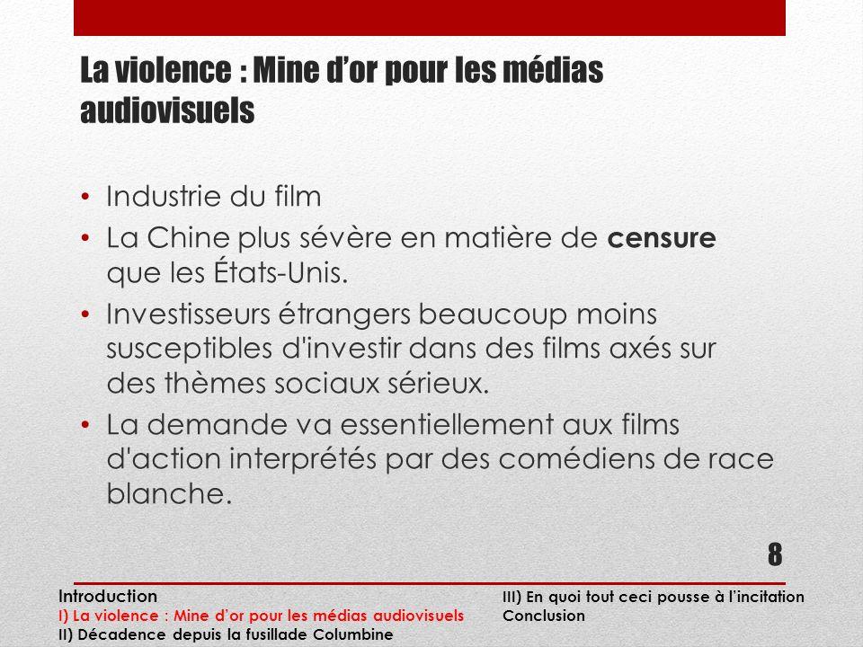 La violence : Mine dor pour les médias audiovisuels Industrie du film La Chine plus sévère en matière de censure que les États-Unis.