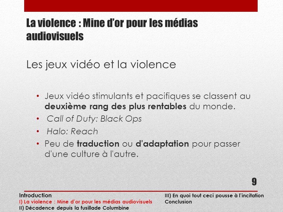 La violence : Mine dor pour les médias audiovisuels Les jeux vidéo et la violence Jeux vidéo stimulants et pacifiques se classent au deuxième rang des plus rentables du monde.