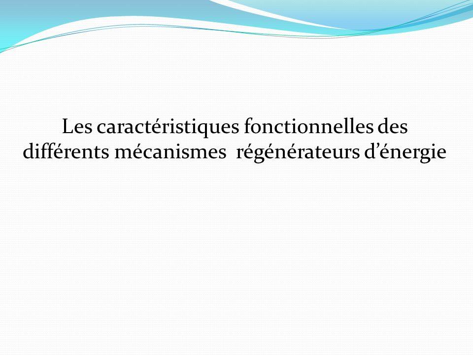 Les caractéristiques fonctionnelles des différents mécanismes régénérateurs dénergie