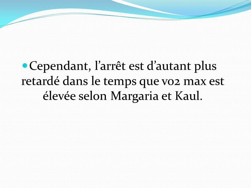 Cependant, larrêt est dautant plus retardé dans le temps que vo2 max est élevée selon Margaria et Kaul.