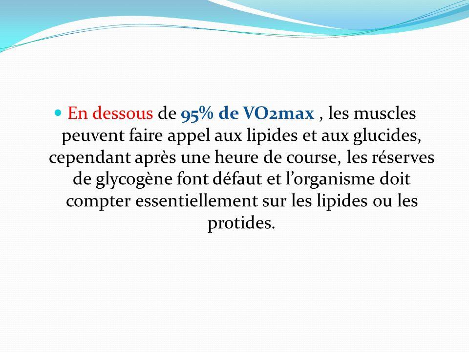 En dessous de 95% de VO2max, les muscles peuvent faire appel aux lipides et aux glucides, cependant après une heure de course, les réserves de glycogè