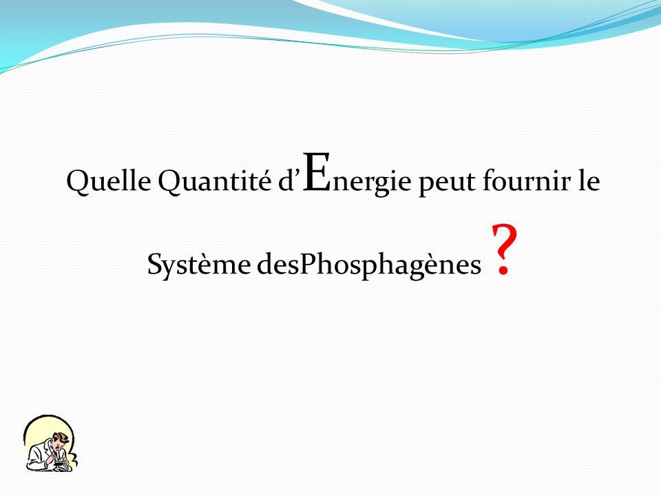 Quelle Quantité d E nergie peut fournir le Système desPhosphagènes ?