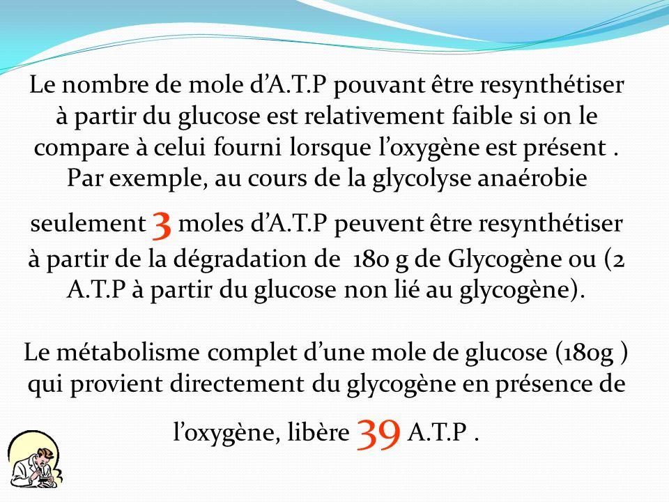 Le nombre de mole dA.T.P pouvant être resynthétiser à partir du glucose est relativement faible si on le compare à celui fourni lorsque loxygène est p